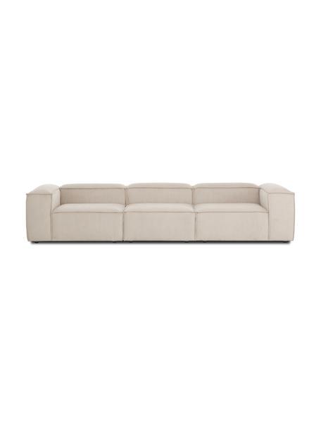 Sofa modułowa ze sztruksu Lennon (4-osobowa), Tapicerka: sztruks (92% poliester, 8, Stelaż: lite drewno sosnowe, skle, Nogi: tworzywo sztuczne Nogi zn, Sztruksowy beżowy, S 327 x G 119 cm