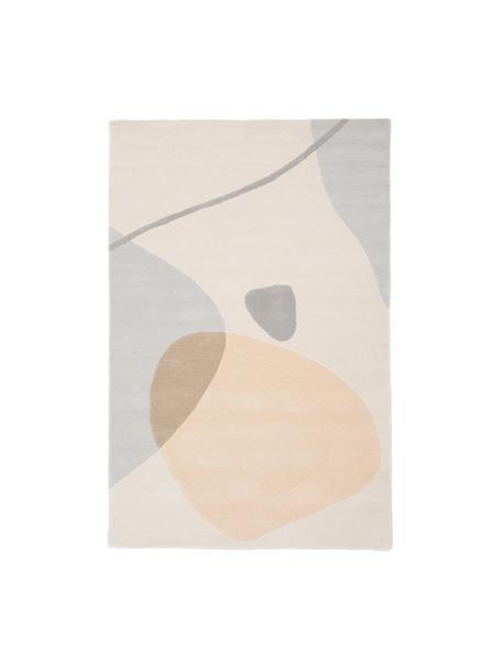 Handgetuft wollen vloerkleed Luke met abstract patroon, Bovenzijde: 100% wol, Onderzijde: katoen, Beige, grijs, abrikooskleurig, B 120 x L 180 cm (maat S)