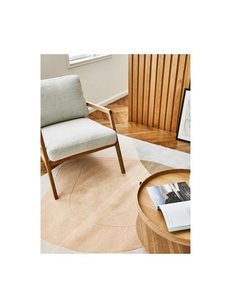 Handgetuft wollen vloerkleed Luke met abstract patroon, Bovenzijde: 100% wol, Onderzijde: 100% katoen Bij wollen vl, Beige, grijs, abrikooskleurig, B 120 x L 180 cm (maat S)