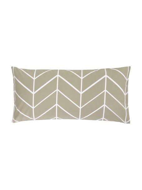 Baumwoll-Kissenbezüge Mirja mit grafischem Muster, 2 Stück, Webart: Renforcé Fadendichte 144 , Taupe, Cremeweiß, 40 x 80 cm