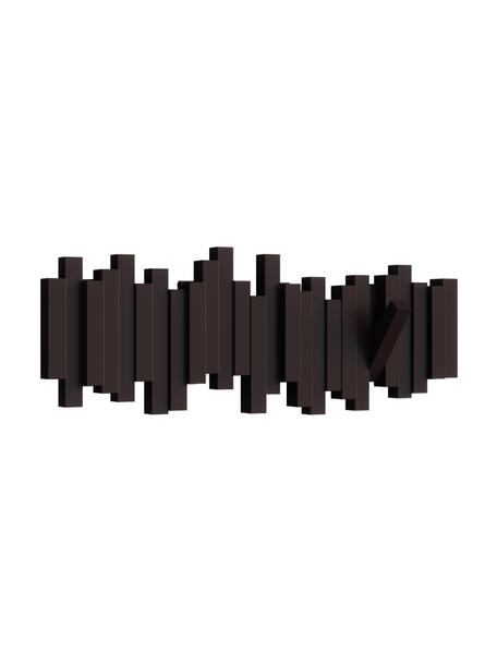 Garderobenhaken Sticks mit Stäbchendesign in Braun, Kunststoff, Espresso, 48 x 18 cm