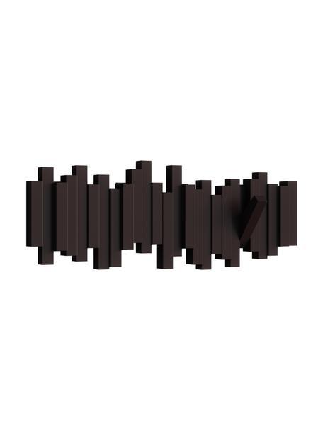 Garderobenhaken mit Stäbchendesign in Braun, Kunststoff, Espresso, 48 x 18 cm