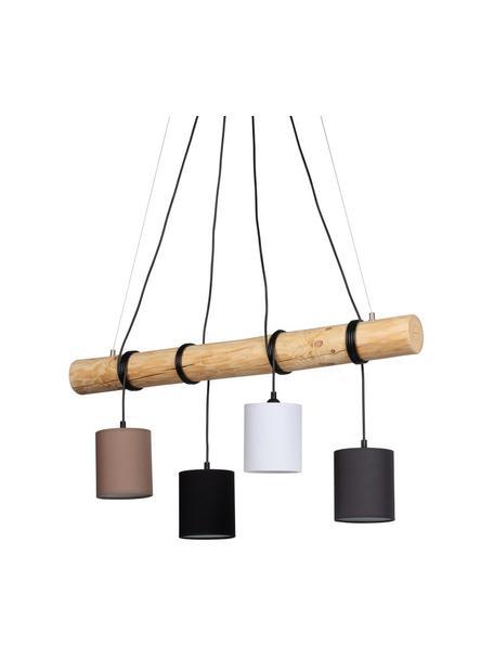 Grote hanglamp Pietro van hout, Lampenkap: stof, Baldakijn: gecoat metaal, Bruin, wit, 90 x 140 cm