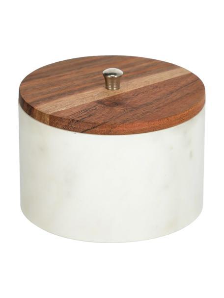 Marmeren opbergpot Karla in wit, Pot: marmer, Deksel: acaciahout, Bruin, grijs, lichtbruin, Ø 13 x H 10 cm