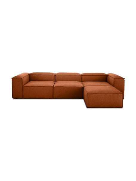 Modulares Sofa Lennon (4-Sitzer) mit Hocker in Terrakotta, Bezug: Polyester Der hochwertige, Gestell: Massives Kiefernholz, Spe, Webstoff Terrakotta, B 327 x T 207 cm