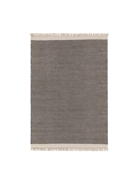 Alfombra artesanal de lana con flecos Kim, 80%lana, 20%algodón Las alfombras de lana se pueden aflojar durante las primeras semanas de uso, la pelusa se reduce con el uso diario, Negro, blanco crema, An 80 x L 120 cm (Tamaño XS)