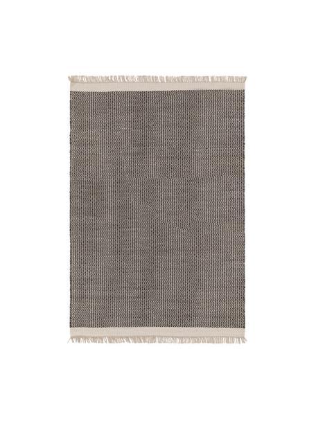 Tappeto in lana color nero/crema tessuto a mano con frange Kim, 80% lana, 20% cotone Nel caso dei tappeti di lana, le fibre possono staccarsi nelle prime settimane di utilizzo, questo e la formazione di lanugine si riducono con l'uso quotidiano, Nero, bianco crema, Larg. 80 x Lung. 120 cm (taglia XS)