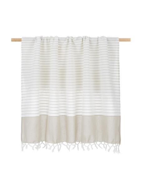 Leichte, gestreifte Baumwolldecke Monica mit Fransen, 100% Baumwolle, Beige, Weiss, 125 x 150 cm