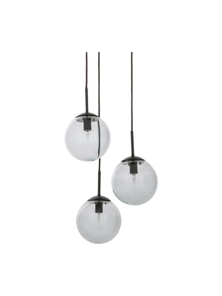 Lampa wisząca ze szkła dymionego Edie, Szary, czarny, S 30 x G 30 cm