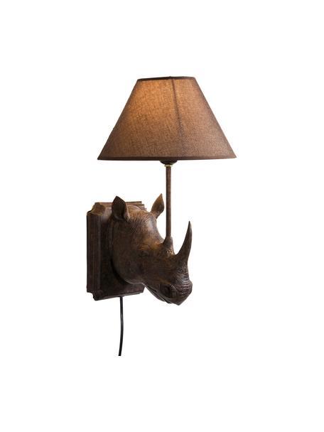 Design wandlamp Rhino met stekker, Lamp: polyresin, Lampenkap: linnen, Frame: staal, Bruin, 27 x 40 cm
