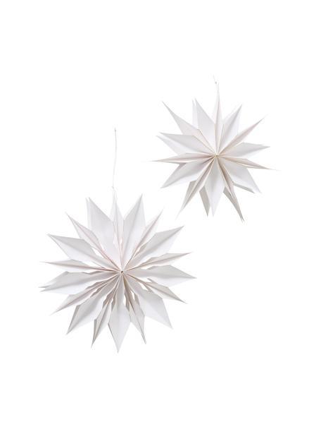 Set 2 ciondoli a stella Kassia, Ø40 cm, Carta, Bianco, Ø 30 x Prof. 6 cm