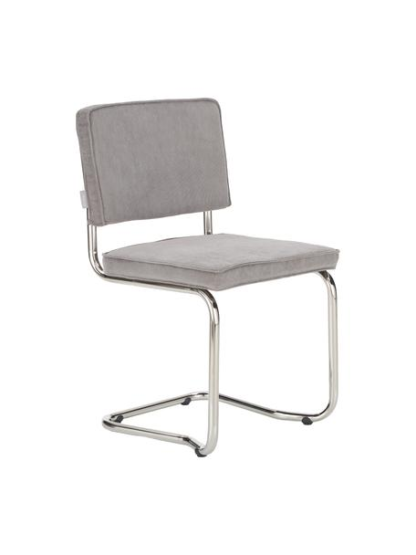 Corduroy-cantilever stoel Kink in lichtgrijs, Bekleding: corduroy (88% nylon, 12% , Frame: verchroomd metaal, Poten: kunststof, Koord lichtgrijs, B 48 x D 48 cm