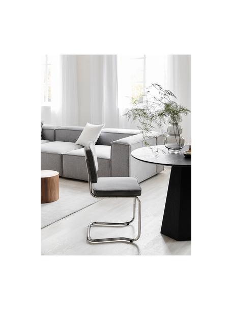 Krzesło podporowe z aksamitu sztruksowego Kink, Tapicerka: aksamitny sztruks (88% ny, Nogi: tworzywo sztuczne, Jasny szary, S 48 x G 48 cm