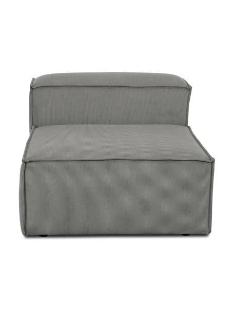 Módulo central de pana sofá Lennon, Tapizado: pana (92%poliéster, 8%p, Estructura: madera de pino maciza, ma, Patas: plástico Las patas están , Pana gris, An 89 x F 119 cm