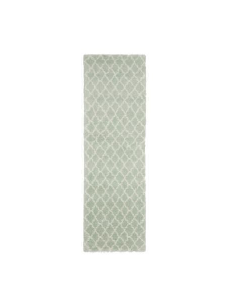 Passatoia a pelo lungo verde menta/bianco crema Mona, Retro: 78% juta, 14% cotone, 8% , Verde menta, bianco crema, Larg. 80 x Lung. 250 cm
