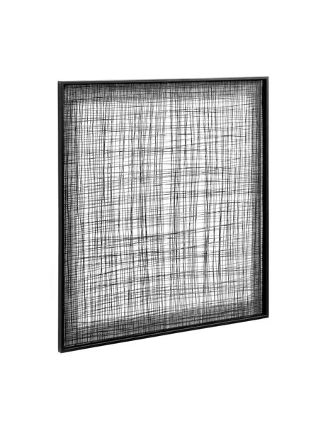 Dekoracja ścienna z metalu Christine, Metal powlekany, Czarny, S 79 x W 79 cm