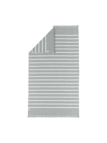 Gestreiftes Hamamtuch Filena, 100% Baumwolle, Jadegrün, Weiss, 100 x 180 cm