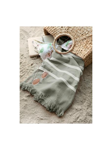 Gestreepte hamamdoek Filena, 100% katoen, Jadegroen, wit, 100 x 180 cm