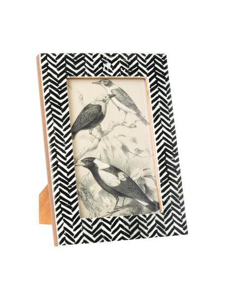 Portafoto da tavolo Zack, Cornice: osso di bufalo, Retro: Pannelli di fibra a media, Nero, bianco, 10 x 15 cm