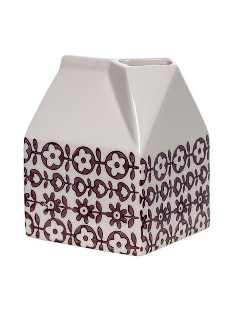 Brocca latte fatta a mano con piccolo motivo Karine, Gres, Viola, bianco, Larg. 7 x Alt. 9 cm
