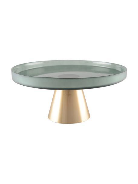 Tortenplatte Salba aus Glas mit goldfarbenem Fuss, verschiedene Grössen, Glas, Grün, Goldfarben, Ø 21 x H 12 cm