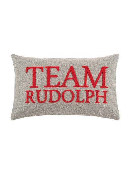 Kissenhülle Rudolph mit erhabener Aufschrift, 60% Wolle, 40% Polyester, Hellgrau, Rot, 30 x 50 cm