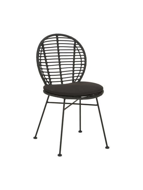 Polyrotan stoelen Cordula, 2 stuks, Zitvlak: polyethyleen vlechtwerk, Frame: gepoedercoat metaal, Zwart, 48 x 57 cm