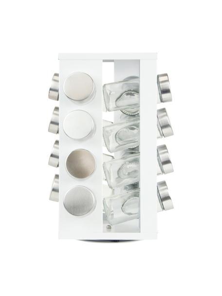 Draaibaar kruidenrek Soho met opbergboxen, 17-delig, Frame: gecoat metaal, kunststof, Wit, edelstaalkleurig, 18 x 29 cm