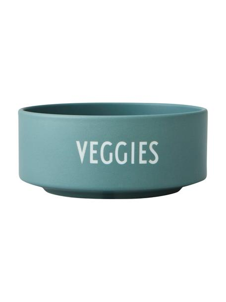 Design Schälchen Favourite VEGGIES in Grün mit Schriftzug, Fine Bone China (Porzellan) Fine Bone China ist ein Weichporzellan, das sich besonders durch seinen strahlenden, durchscheinenden Glanz auszeichnet., Jadegrün, Weiß, Ø 12 x H 5 cm
