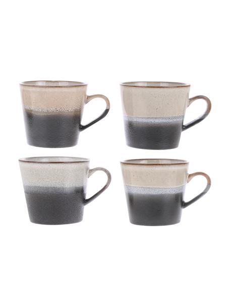 Set 4 tazze cappuccino fatte a mano stile retrò 70's, Gres, Nero, bianco, Ø 12 x Alt. 9 cm