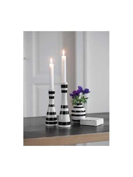 Świecznik Omaggio, Ceramika, Czarny, biały, Ø 6 x W 16 cm
