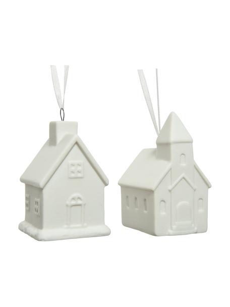 Porzellan-Anhänger Haus H 6 cm, 2 Stück, Porzellan, Weiß, 5 x 6 cm