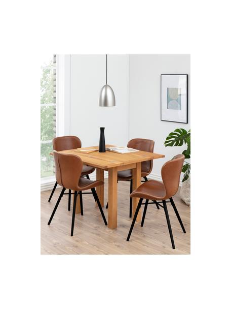 Kunstleren stoelen Batilda, 2 stuks, Bekleding: kunstleer (polyurethaan), Poten: rubberhout, gelakt, Kunstleer cognackleurig, 47 x 53 cm