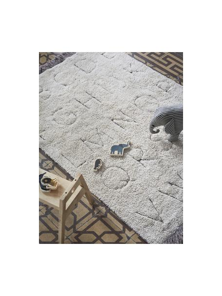 Waschbarer Teppich ABC mit Buchstaben Design und Fransenabschluss, Flor: 97% Baumwolle 3% Gemischt, Beige, B 90 x L 130 cm (Größe XS)