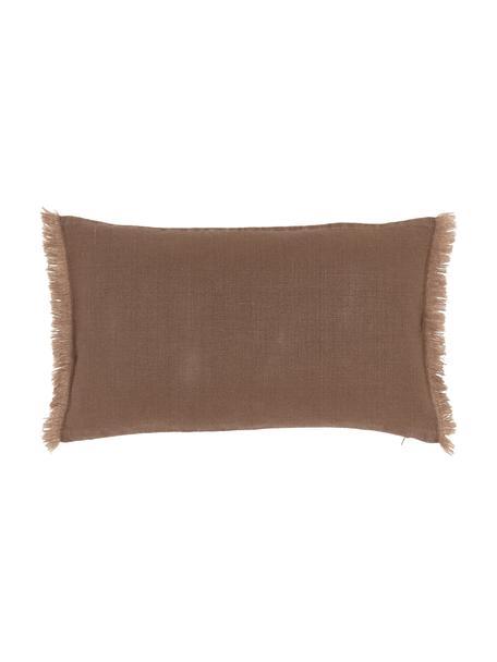 Poszewka na poduszkę z lnu z frędzlami Luana, 100% len, Brązowy, S 30 x D 50 cm