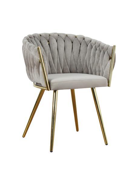 Krzesło z podłokietnikami z aksamitu Larissa, Tapicerka: aksamit (100% poliester), Nogi: metal, Aksamitny beżowy, nogi: odcienie złotego, S 63 x G 55 cm