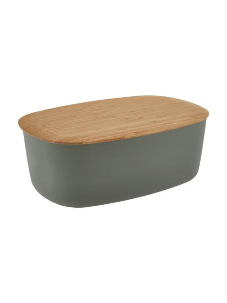 Design broodtrommel Box-It in donkergrijs met snijplank als deksel, Deksel: bamboe, Pot: grijs. Deksel: bruin, 35 x 12 cm