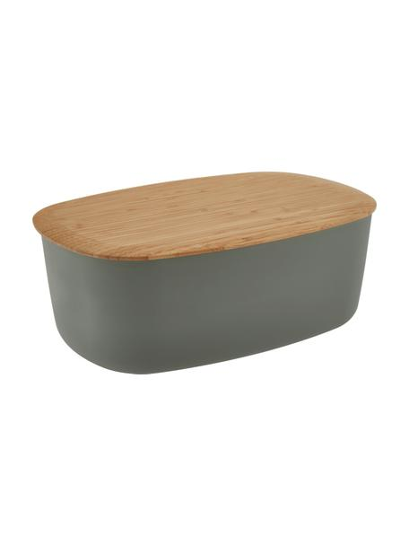 Pojemnik na pieczywo z pokrywką z bambusa Box-It, Pojemnik: szary Pokrywka: brązowy, S 35 x W 12 cm