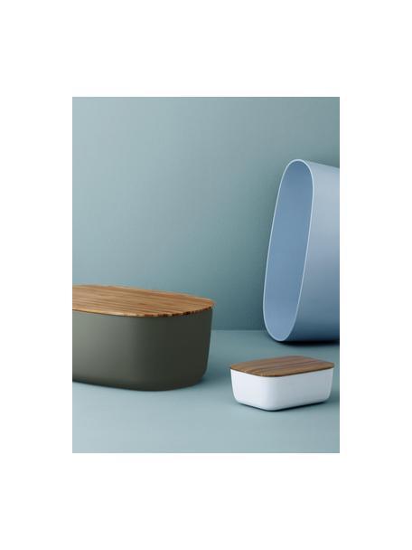 Portapane grigio scuro di design con coperchio in bambù Box-It, Coperchio: bambù, Contenitore: grigio Coperchio: marrone, Larg. 35 x Alt. 12 cm