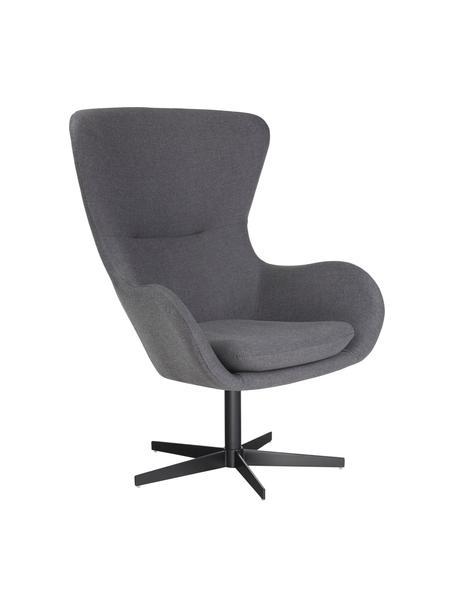 Fauteuil Wing in grijs, draaibaar, Bekleding: 93% polyester, 5% katoen,, Poten: gepoedercoat metaal, Grijs, 78 x 80 cm