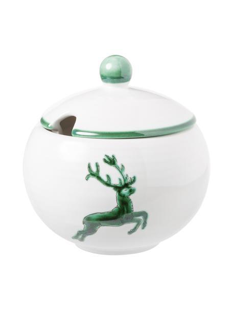 Handbeschilderde suikerpot Classic Green Deer, Keramiek, Wit, Ø 10 cm
