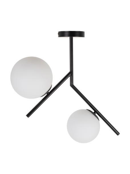Lampada da soffitto in vetro opale Spheric, Baldacchino: metallo rivestito, Paralume: vetro opale, Nero, Larg. 58 x Alt. 53 cm