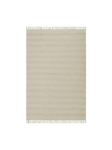 Tappeto boho in cotone a righe con frangeTanya, 100% cotone, Greige, Larg. 160 x Lung. 230 cm (taglia M)