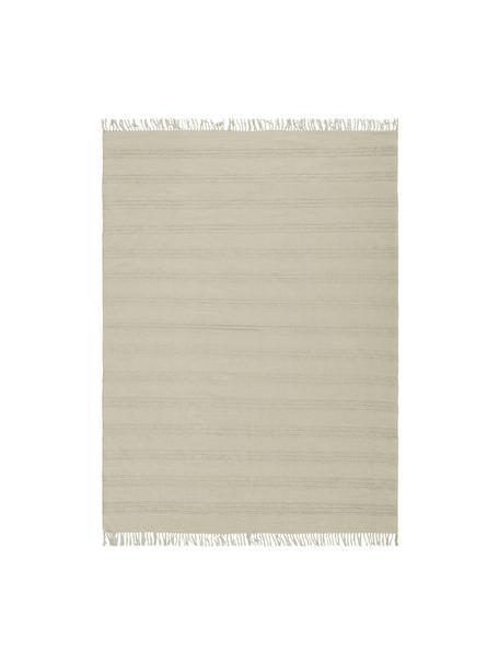 Tappeto in cotone a righe tono su tono con frange Tanya, 100% cotone, Greige, Larg. 160 x Lung. 230 cm (taglia M)