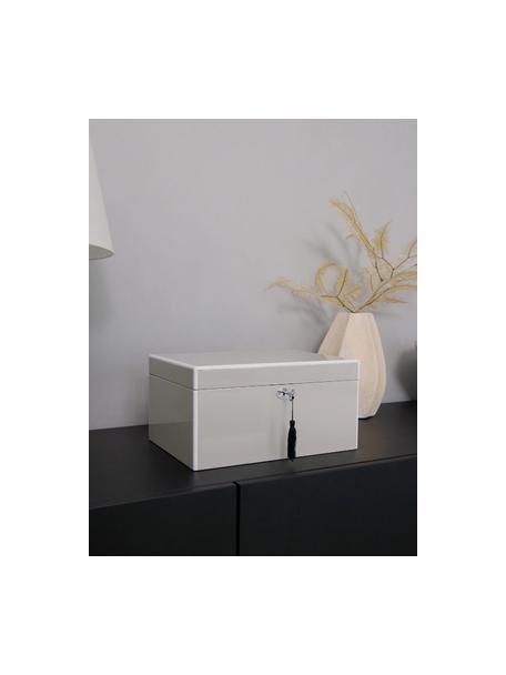 Scatola portagioie con specchio Juliana, Scatola: pannelli di fibra a media, Grigio con bordo bianco, Larg. 31 x Alt. 16 cm