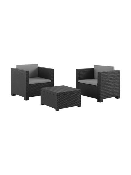 Set lounge para exterior Diva, 3pzas., Tapizado: 100%poliéster, Gris antracita, Set de diferentes tamaños