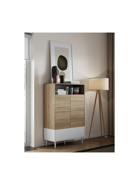 Hoog dressoir Horizon in wit met eikenhout optiek, Poten: beukenhout massief, gelak, Eikenhoutkleurig, wit, 90 x 141 cm