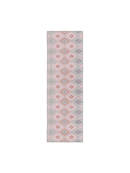 Dwustronny chodnik kilim Ana, 80% poliester 20% bawełna, Blady różowy, wielobarwny, S 75 x D 230 cm