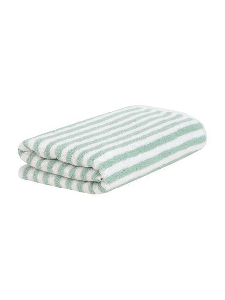 Gestreepte handdoek Viola, 100% katoen, middelzware kwaliteit, 550 g/m², Mintgroen, crèmewit, Gastendoekje