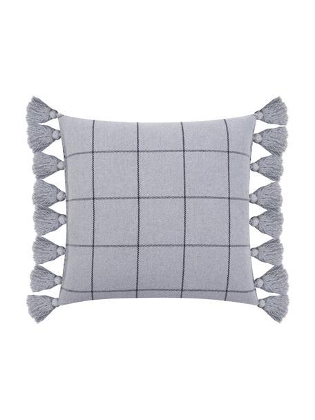 Karierte Kissenhülle Amano mit Quasten, 100% Baumwolle, Grau, Dunkelgrau, 45 x 45 cm